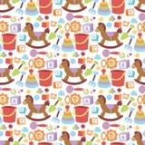 Jungen- und Mädchenkindheitskunst-Windelliebe des Babyspielwarenikonenkarikaturfamilienkindtoyshopdesigns rattern nette nahtloses Stockbilder