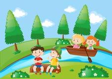 Jungen und Mädchenruderboot im Park vektor abbildung