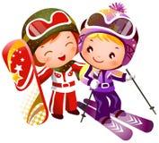 Jungen- und Mädchenskifahren Lizenzfreie Stockbilder