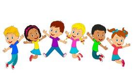 Jungen- und Mädchenspringen lizenzfreie abbildung