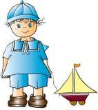 Jungen- und Spielzeugbootskarikatur Stockbilder
