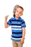 Jungen- und Stoffkappe Lizenzfreie Stockbilder