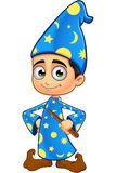 Jungen-Zauberer in den blau- Händen auf Hüften Stockfotos