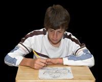 Jungen-Zeichnungs-Abbildung Stockfotografie