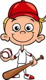 Jungenbaseball-spieler-Karikaturillustration Stockfoto