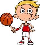 Jungenbasketball-spieler-Karikaturillustration Lizenzfreie Stockfotos