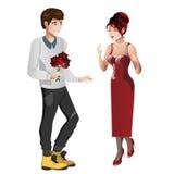 Jungencharakter gibt Geschenkblumenstraußblumen zum Mädchencharakter Stockbilder