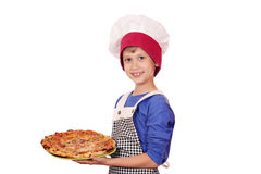 Jungenchef mit Pizza Lizenzfreie Stockfotos
