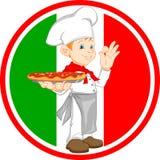 Jungenchefkarikatur, die Pizza hält Stockfotos