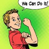 Jungenenergievertrauen können wir es tun Stockfotos