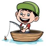 Jungenfischen in einem Boot Stockfotos