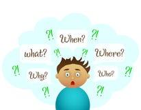 Jungenfrage Nette Studie lizenzfreie abbildung