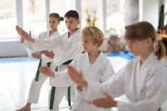 Jungengefühl beteiligt in übendem Aikido zusammen lizenzfreie stockfotos