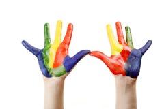 Jungenhände gemalt stockfotos