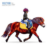 Jungenjockey, der ein Pferd reitet Pferd Ponyclub Dressage, das Pferdenspringen und Polopferde und -mitfahrer vector Schattenbild vektor abbildung