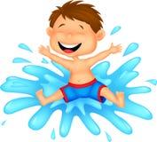 Jungenkarikatur, die in das Wasser springt Stockfotografie