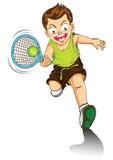 Jungenkarikatur, die Tennis spielt Stockbilder