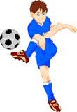 Jungenkarikatur-Fußballspieler Stockbilder