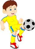 Jungenkarikatur-Fußballspieler Stockfotos