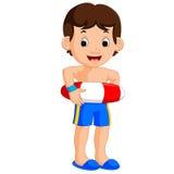 Jungenkarikatur mit aufblasbarem Ring lizenzfreie abbildung