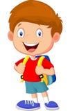Jungenkarikatur mit Rucksäcken Stockfoto