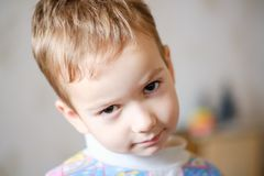 Jungenkindergesichts-Kinderkindheit kaukasisch lizenzfreies stockbild