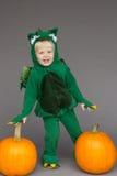 Jungenkinderkinderdrache-Kostümkürbise Halloween lizenzfreie stockfotos