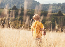 Jungenläufe im hohen gelben Gras Stockfotografie