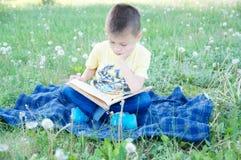 Jungenlesebuch, das im Park im Freien unter Löwenzahn im Park, in lächelndem nettem Kind, in den Kindern Bildung und in der Entwi lizenzfreies stockfoto