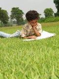 Jungenlesebuch im Gras Stockbild