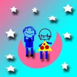 Jungenmädchen auf Mond lizenzfreie abbildung