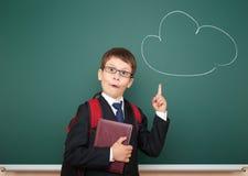 Jungenpunkt an der Zeichnungswolke und an der haben Idee Stockfotografie