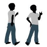 Jungenschattenbild in der glücklichen Gesprächs-Haltung vektor abbildung