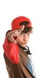 Jungenschießen von den Fingern Lizenzfreies Stockfoto