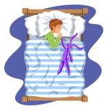 Jungenschlafschlafenszeit in seinem Schlafzimmerbett mit Spielzeughäschen stock abbildung