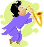 Jungenspiel-Saxophonzeichentrickfilm-figur Stockfotos