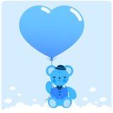 Jungenteddybär und -ballon Lizenzfreie Stockbilder