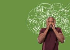 Junger Afroamerikanermann mit Mischgedanken stockbilder