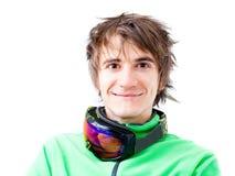 Junger aktiver Skifahrer mit Schablone Stockbilder