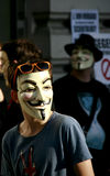 Junger anonymer Aktivist an der Sammlung Lizenzfreies Stockfoto
