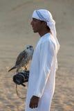 Junger arabischer Mann, der einen Falken in der Wüste nahe Dubai, UAE hält Stockfoto