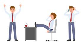 Junger Arbeitnehmer in der Stellung der formellen Kleidung mit dem Smartphone, sitzend am Schreibtisch mit Kopfschmerzen lizenzfreie abbildung