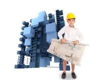 Junger Architekt und abstrakte Struktur Stockfotografie