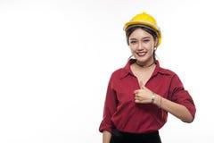 Junger asiatischer Ingenieur mit rotem Hemd Lizenzfreie Stockbilder