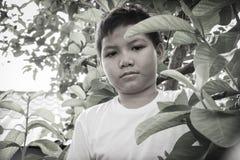 Junger asiatischer Junge, der allein im Park sitzt Stockbild