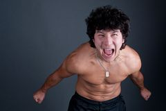 Junger asiatischer Mann crasy Stockfoto