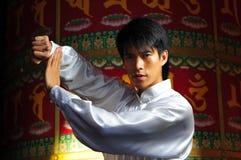 Junger asiatischer Mann in der Gongfu Position Stockbild