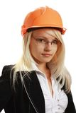 Junger attraktiver weiblicher Ingenieur stockfoto