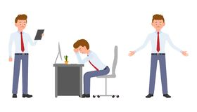 Junger Büroangestellter in der Stellung der formellen Kleidung mit der Tablette, sitzend am Schreibtisch vektor abbildung