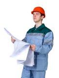 Junger Bauarbeiter stockfoto